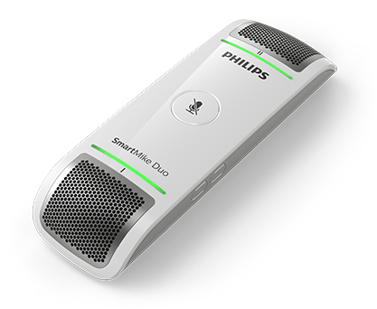 A picture of the Philips SmartMike Duo with green indicator light