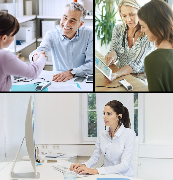 images of doctors and lawyers using the Philips SmartMike Duo with clients, while a transcriptionist types the work.