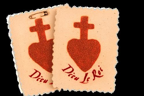 2 Vendean Sacred Heart Badges on canvas