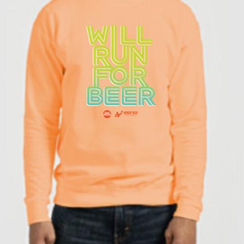 Will Run for Beer Crew Sweatshirt
