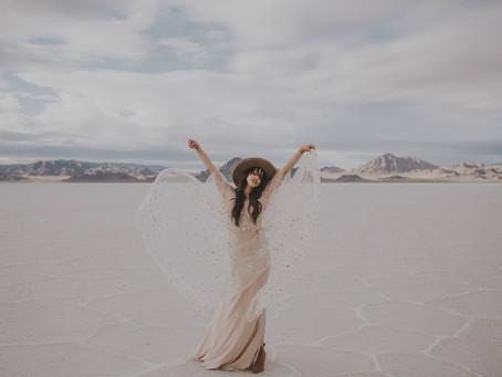Salt flats shoot featuring the Lilith set