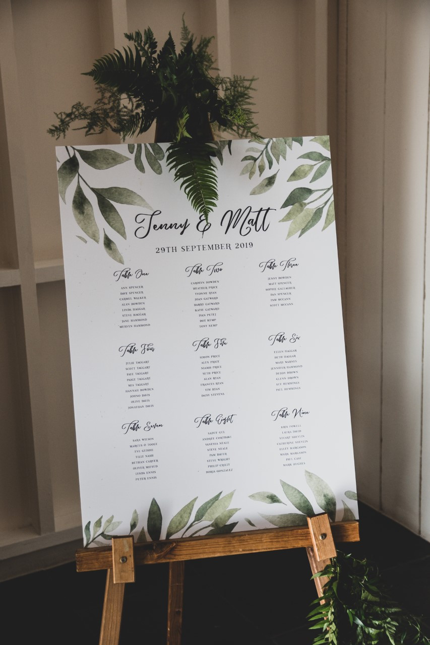 Botanical inspired on the day wedding stationery with a simple and elegant design. Beautiful simple and rustic mounted table plan design.