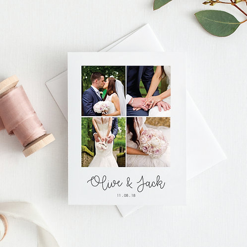 Olive Personalised Wedding Photo Thank You Cards - Minimum order of 20
