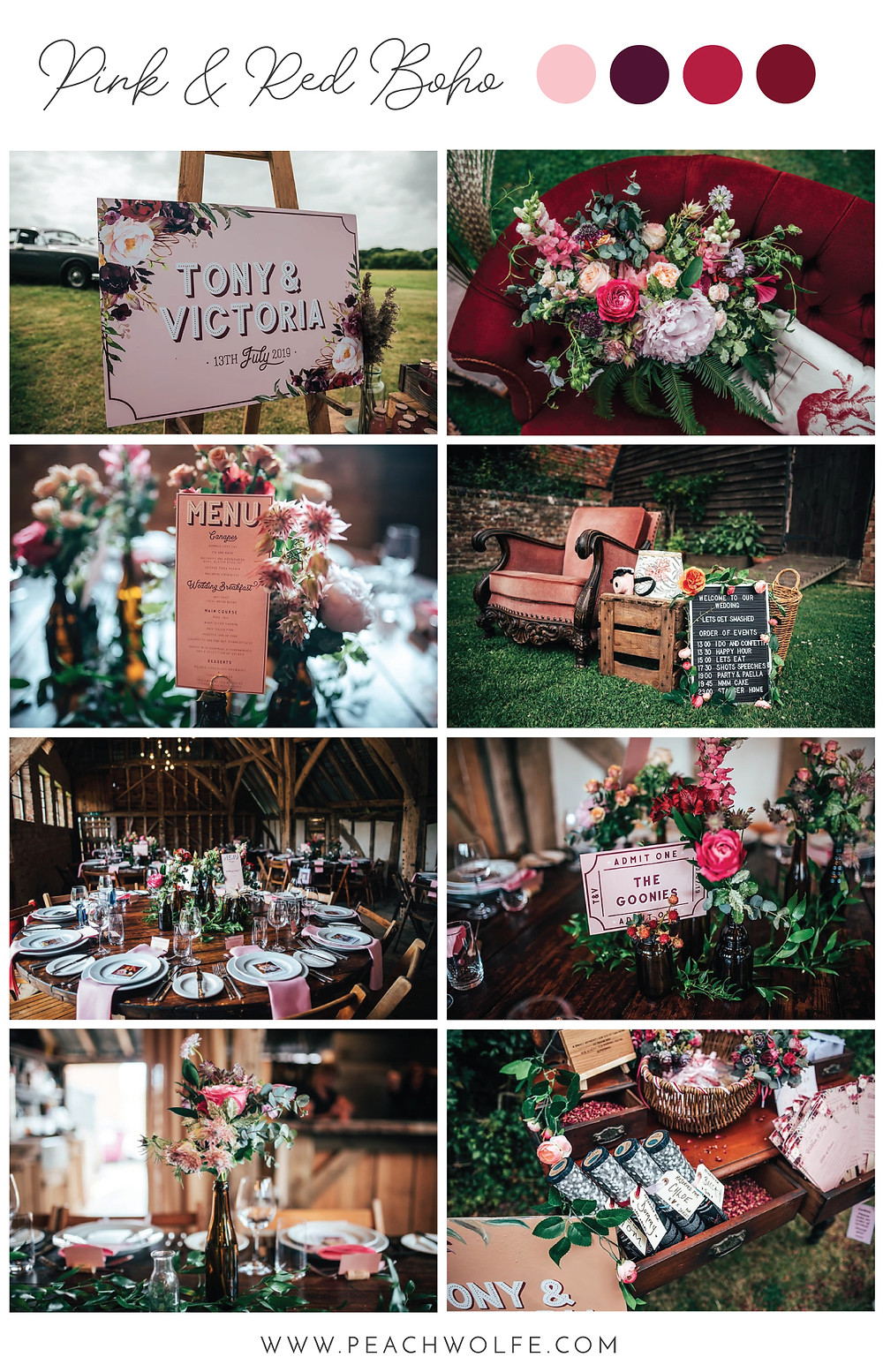 Gorgeous boho rustic inspired pink and red wedding. Pink and red wedding stationery.