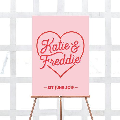 Rebel heart personalised wedding signage