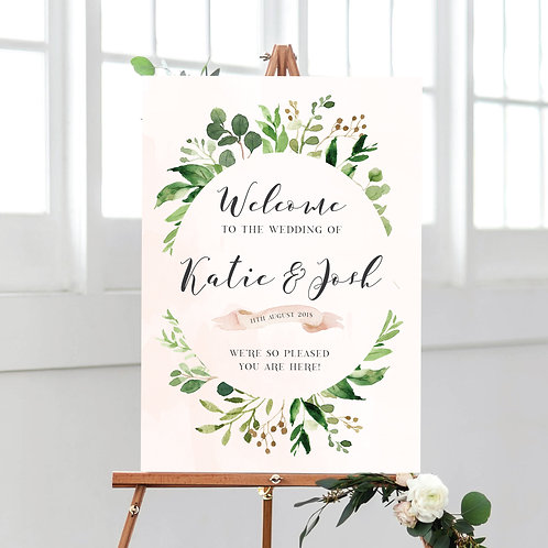 Botanical welcome to our wedding sign
