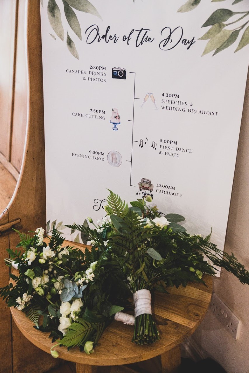 Botanical inspired on the day wedding stationery with a simple and elegant design. Beautiful simple and rustic mounted order of the day design.