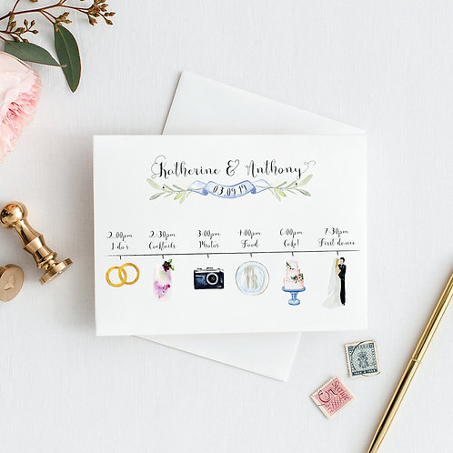 Watercolour illustrated wedding timeline