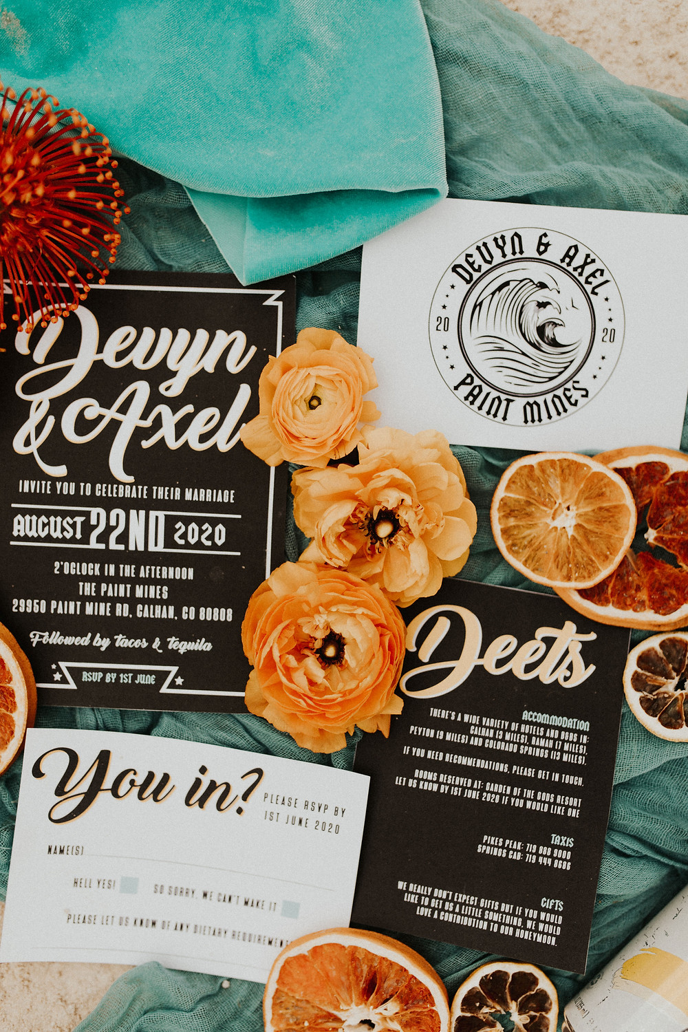 alternative rock n roll wedding stationery set designed by peach wolfe paper co including an RSVP card and details card