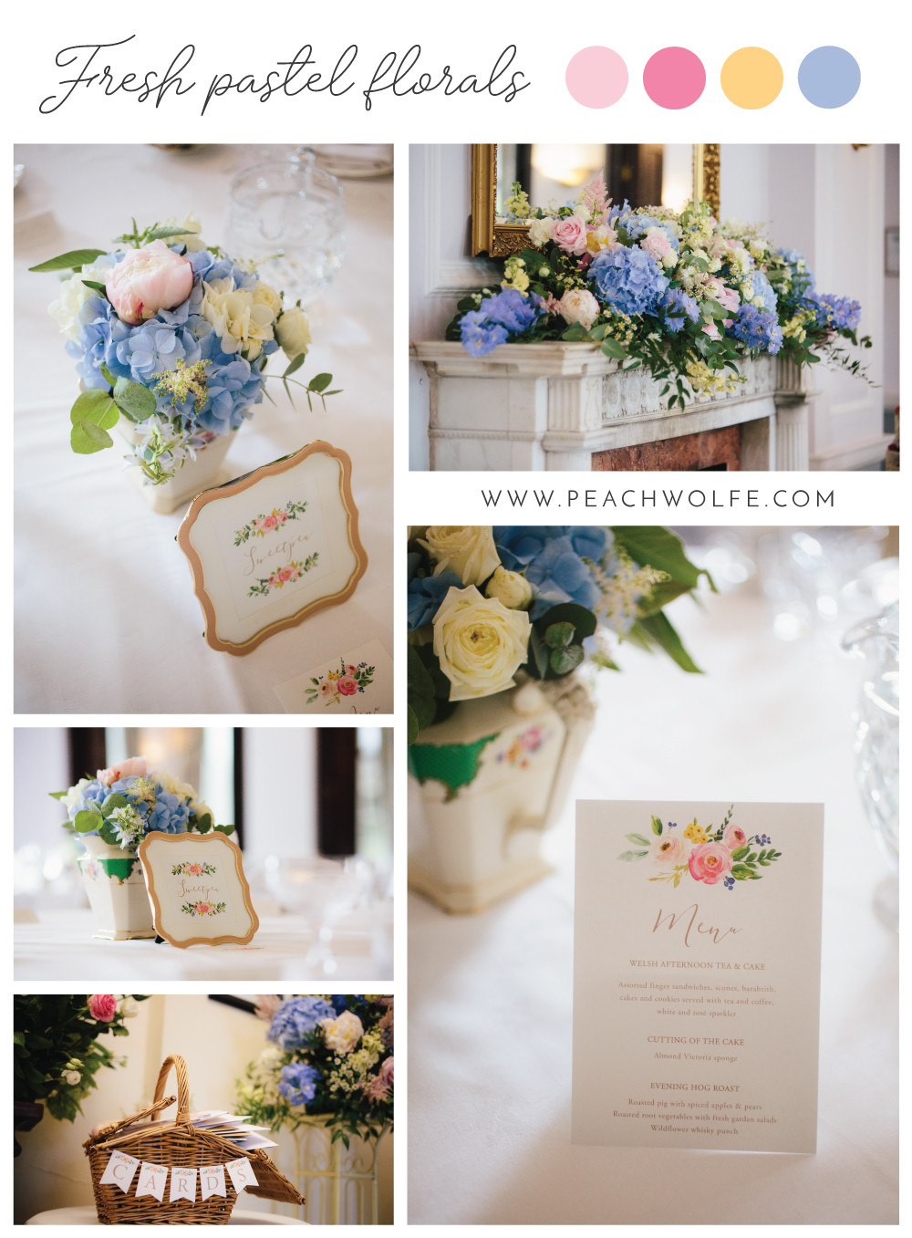 Fresh pastel wedding stationery, spring floral wedding stationery, frame table name card on the day stationery