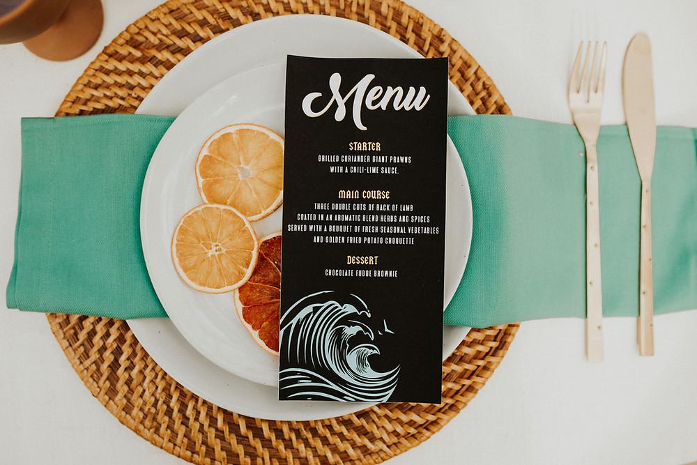 alternative wedding stationery menu design rock n roll wedding style
