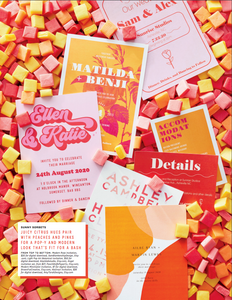 70's inspired quirky colourful retro wedding stationery invitation set