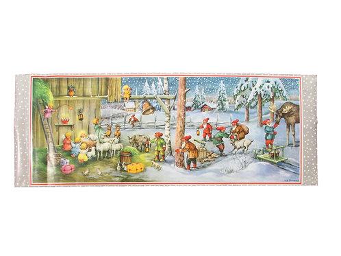 Vanha joulupaperitaulu -60 luvulta. Enkelit ja tonttu-ukot
