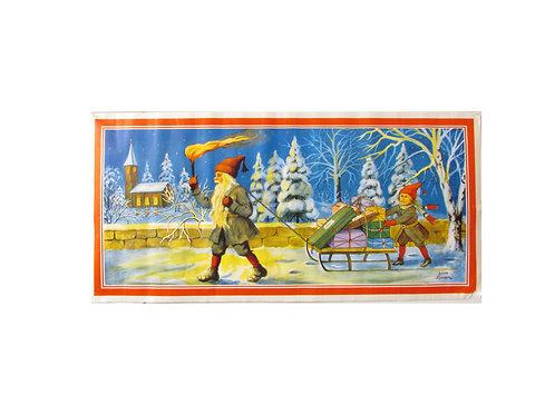 Joulupaperi taulu, Jenny Nyström, joulutaulu, tonttu, reki ja tonttutyttö
