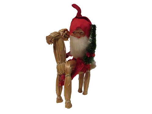 Vanha joulukoriste. Tonttu ja olkipukki. K.A Weiste
