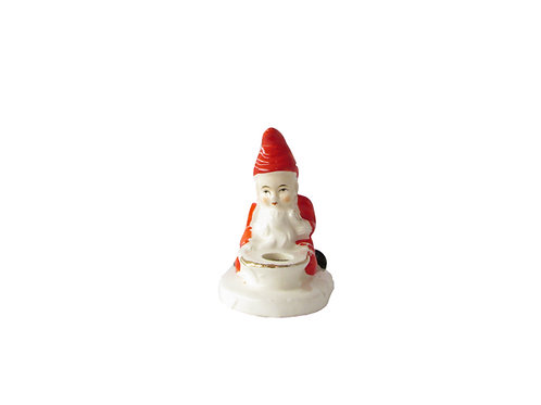Posliinitonttu kynttilänjalka, vanha joulutonttu