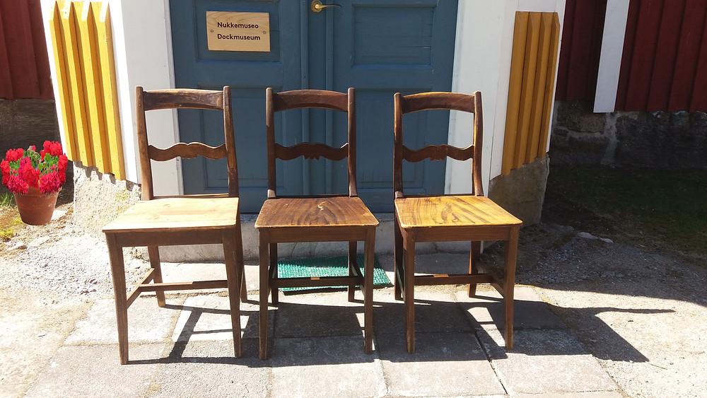Talonpoikaishuonekalut, talonpoikais tuolit, puutuoli, vanha tuoli, ootrattu huonekalu, puutuoli, talonpoikaistalo