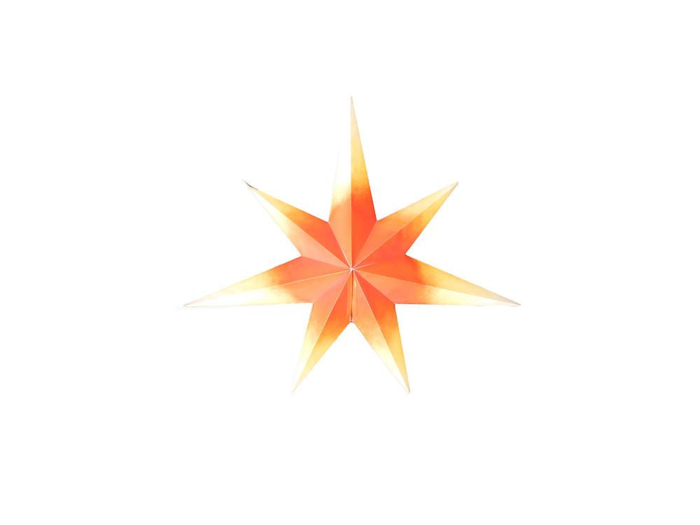 Oranssi paperitähti, vanha paperitähti, ikkunavalot, joulutähti