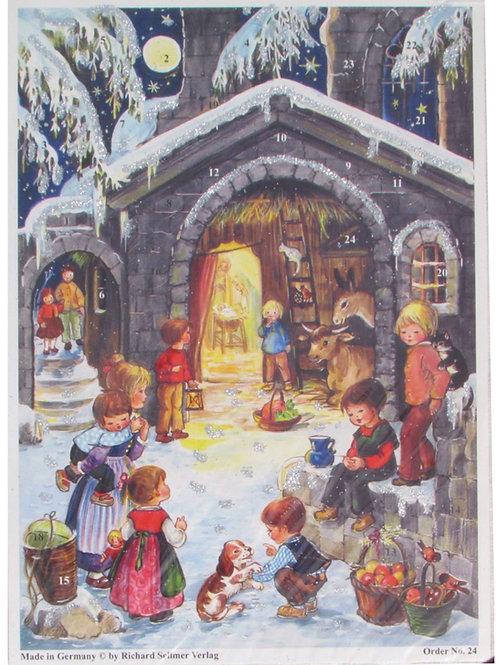 Vanha joulukalenteri, seimen luona. Hilekoristeinen