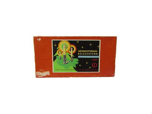 Joulukuusen sähkökynttilät aluperäispakkauksessa -50 luvulta