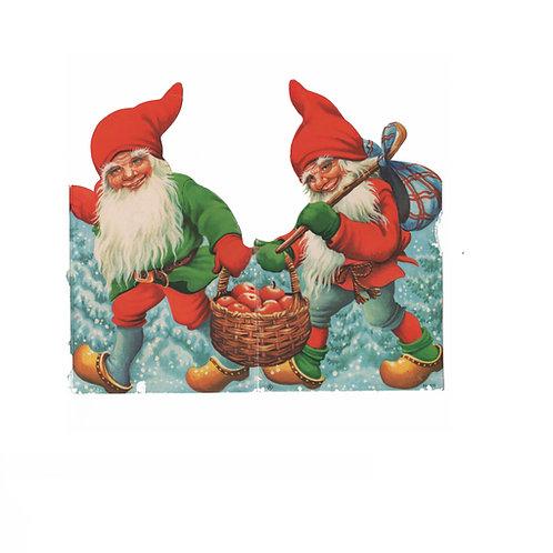 Tontturivi, tonttuhaitari, vanha pahvikoriste. Tontut kantaavat omenakoria