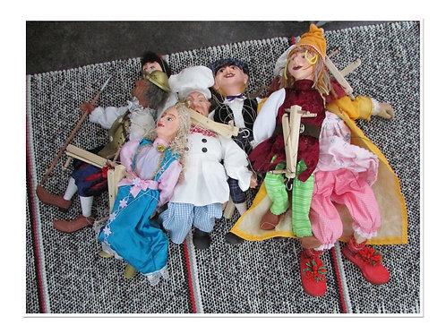 TARJOUS 9kpl marionettinukkea / teatterinukke