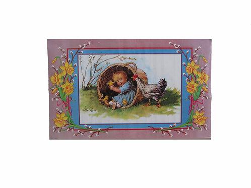 Pääsiäispaperitaulu, lapsi korissa ja kana. Paperitaide -70 luku
