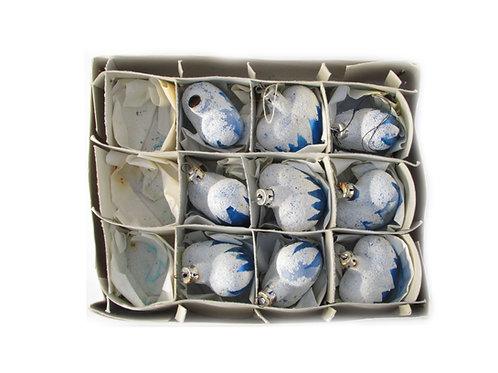 Antiikkia, joulukuusen lasisydämet, joulukuusenkoriste, sininen lasipallo