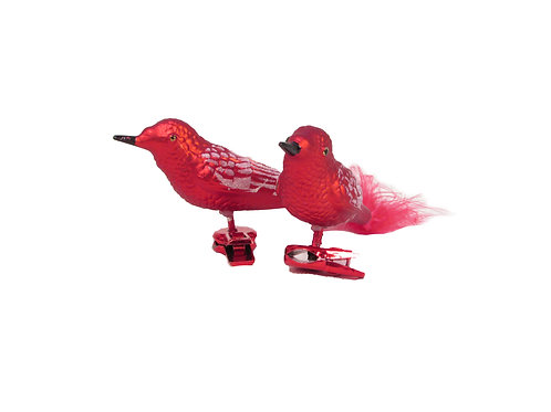 Joulukuusenkoriste, linnut. Punaiset 2kpl