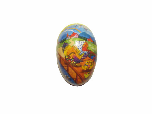 Vanha pääsiäismuna -50 luvulta, pahvia. Kanaperheen kävelyretki