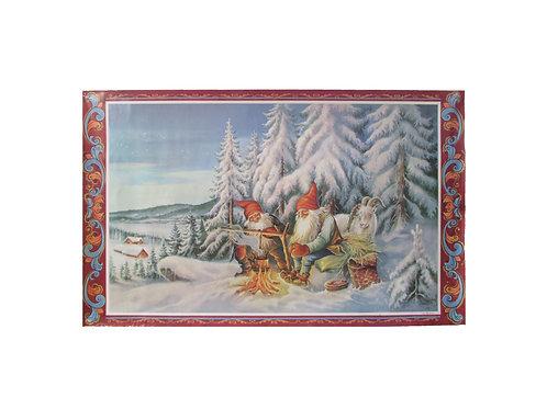 Joulupaperitaulu, tontut nuotiolla lumisessa metsässä