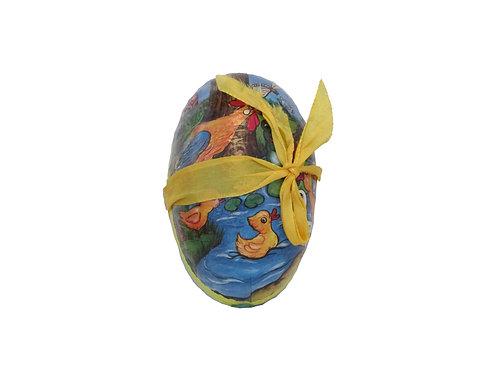 Vanha pääsiäiskoriste, pahvimuna. Ankat uimassa