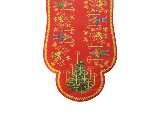 Vanha joulupaperi kaitaliina -50 luvulta. Tontut ja kauralyhde