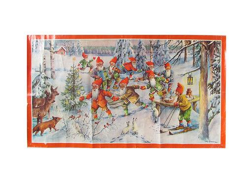 Vanha joulupaperitaulu, tontut tanssiivat lumisessa metsässä. Erik Forsman