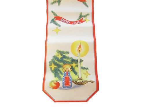 Vanha joulupaperi kaitaliina. -50 luvulta. Kynttilä ja havunoksa
