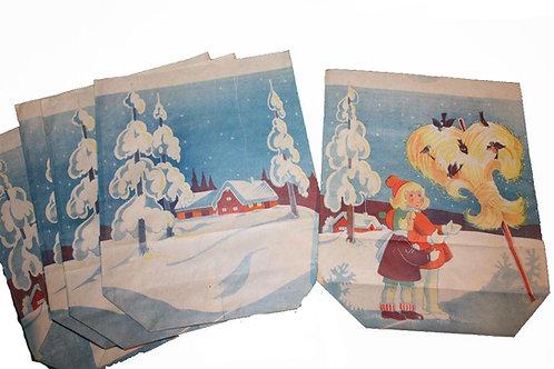 Joulu paperipussi -40 luvulta. Tytöt ja kauralyhde