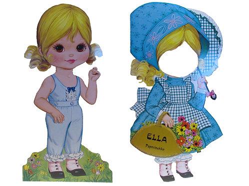 Vanha paperinukke Ella ja vaatteet -80 luvulta
