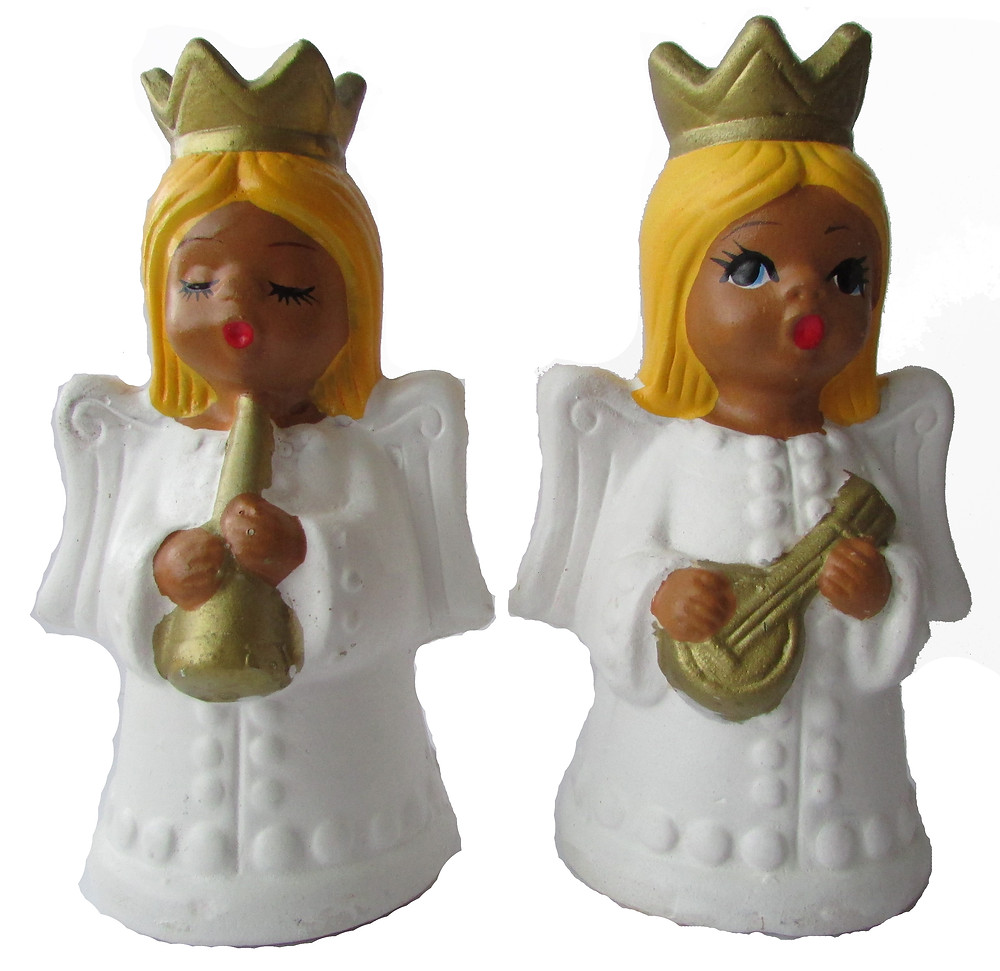 Jouluenkeli, keraaminen enkeli, vanha enkeli kynttilänjalka, kynttilä enkeli, valkoinen enkeli