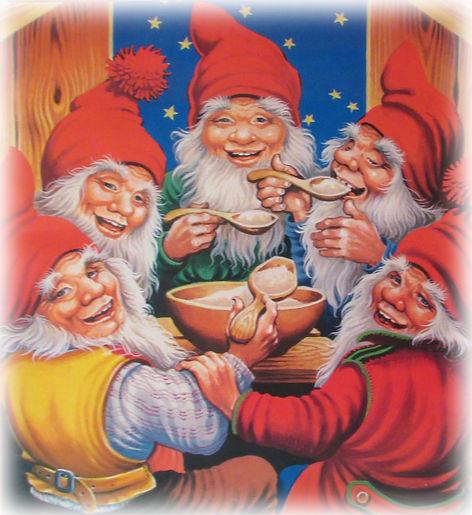 Joulujuhla, tontut syövät puuroa, paperitaulu