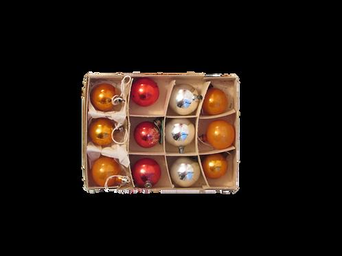 Antiikkia, joulukuusen lasipallot 12kpl. 35mm