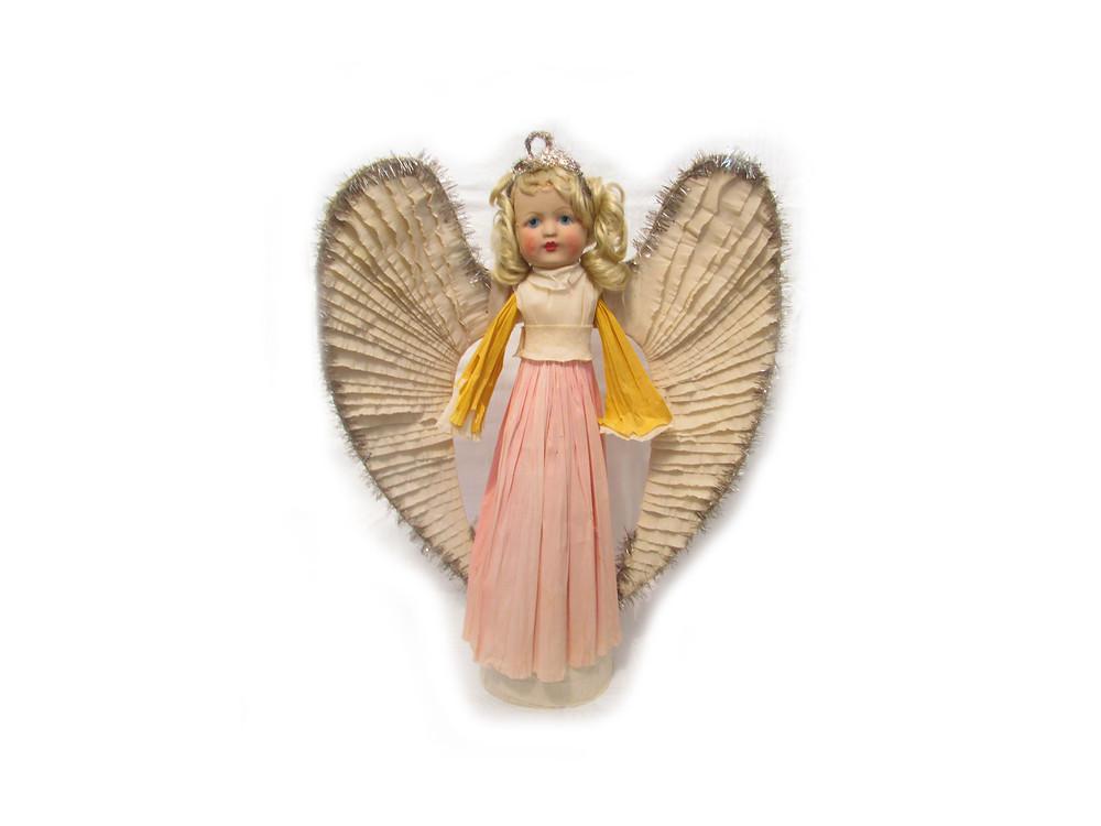 Enkeli, kreppipaperi enkeli, retro koriste, vintage koriste, vanha jouluenkeli, vanha joulukoriste, joulukoristeet, joulukuusen punosta