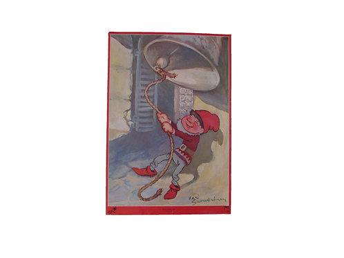 Joulupaperitaulu, tonttu soittaa joulukelloa, joulutaulu Kari Suomalainen, paperitaulu