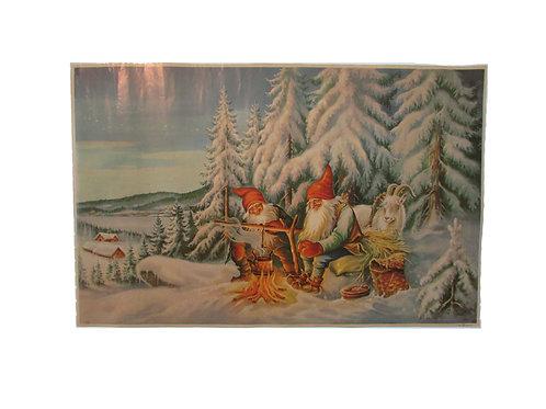 Vanha joulupaperitaulu, tonttu-ukot nuotiolla talvisessa maisemassa