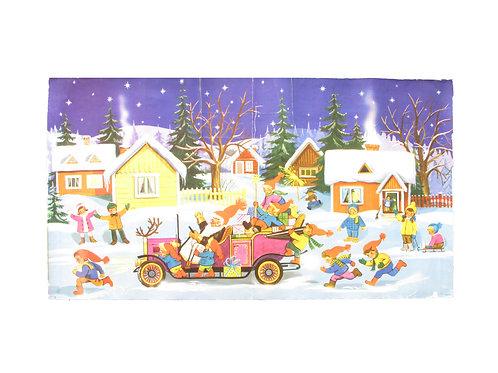 Vanha joulupaperitaulu, joulupukki tulee autolla