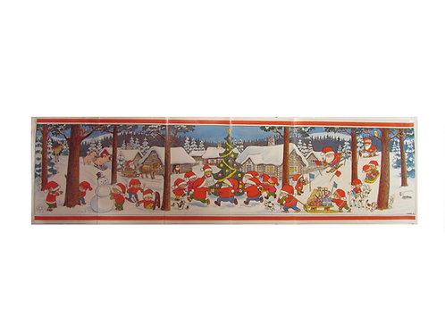 Joulupaperitaulu, luminen metsä, metsän eläimet ja joulutontut