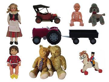 Peltilelu, OK kader nukke, lelukoira, muovitraktori, Polar Vihti Finland nukke, antiikkinallet, puulelu