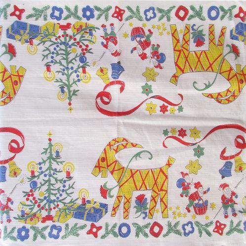 Vanha joulukaitaliina, Porin tekstiilitehdas. Olkipukit ja tontut