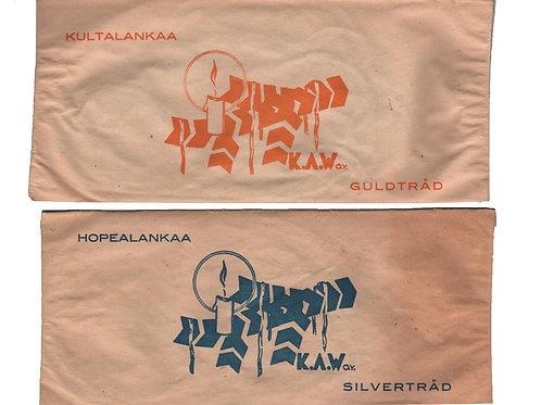 Vanhaa lametta / hopea tai kultalankaa -40 luvulta. K.A Weiste