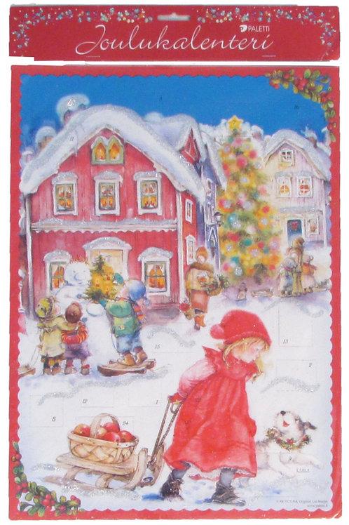 Vanha joulukalenteri, hileellä. Punanuttuinen lapsi