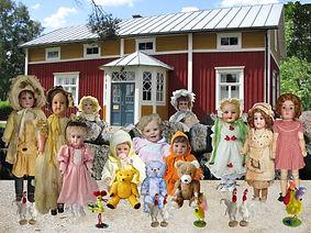 Gamla dockor, reborn dockor, julrekorationer, påsrekorationer, antika nallar, påskhäxa, gammal bondgård